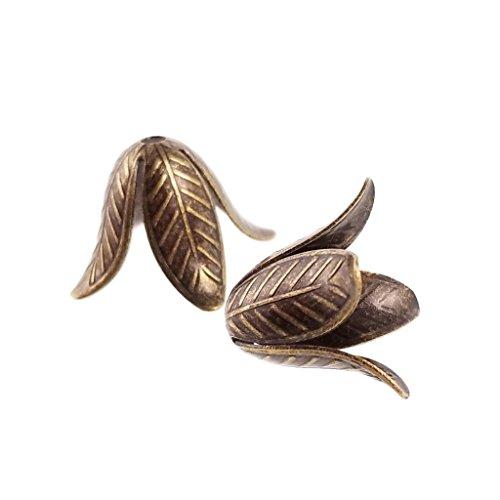 10pc Solid Brass Large Antique Bronze Flower Petal Bead Caps- Hypoallergenic Nickel Free- 25 mm (Bead Brass Caps)