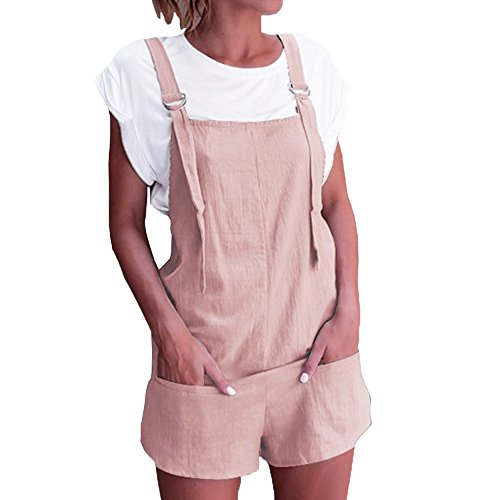 WEUIE Women's Summer Shorts Jumpsuits with Pockets,Girls Loose Bib Pants Rompers Playsuit Overalls Outfits Pink ()