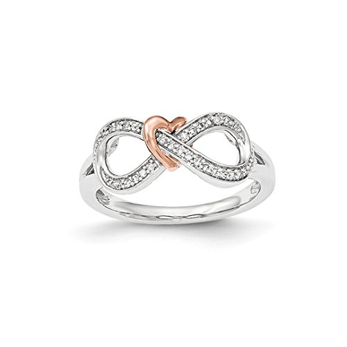ICE CARATS 14k Two Tone Yellow Gold Diamond Infinity Heart Band Ring Size 7.00 S/love Fine Jewelry Gift Set For Women (Designer Two Tone Diamond Band)