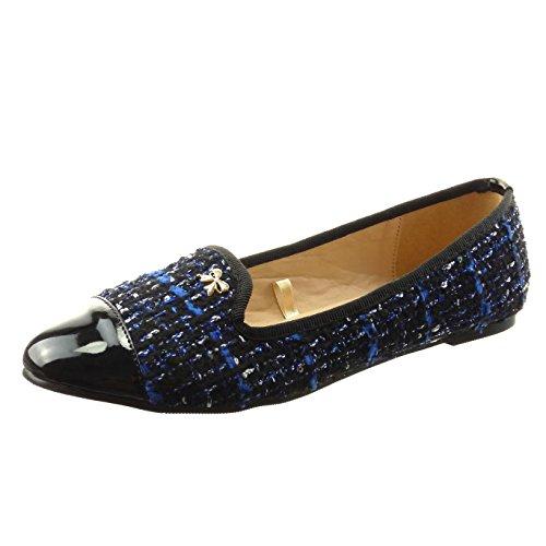 Sopily - damen Mode Schuhe Ballerina Linien Schmuck - Blau