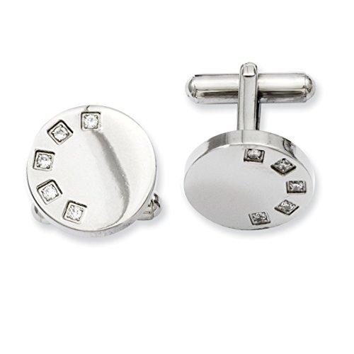 Cufflinks Round Crystal (ICE CARATS Stainless Steel Cubic Zirconia Cz Cuff Links Mens Cufflinks Man Link Fashion Jewelry Dad Mens Gift Set)