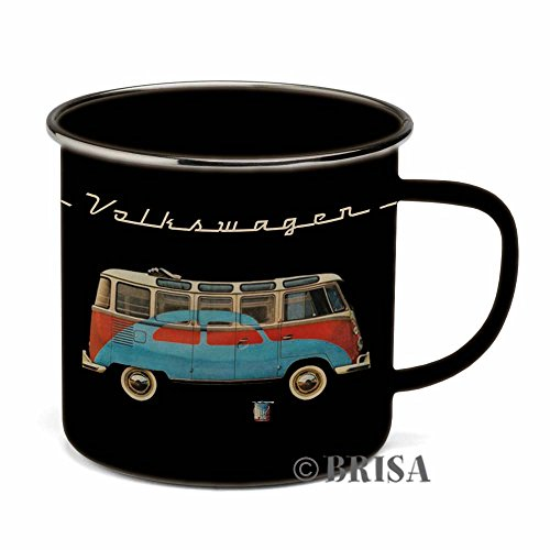 BRISA VW Collection VW T1 Bus & Beetle Enamel Mug 500ml - Black