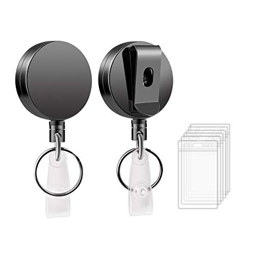 Retractable Badge Holder Reel Clip - LezGo Metal Heavy DutyID Badge Holder 2 Pack with Belt Clip Key Ring for Name Card Keychainand 27.5 Inch Steel Wire Cord