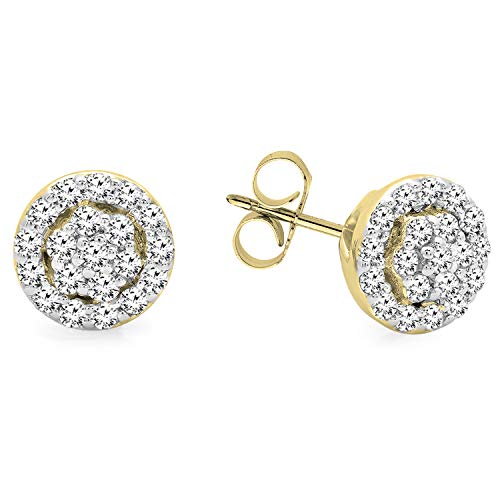 Dazzlingrock Collection 0.25 Carat (ctw) 10K Round White Diamond Ladies Circle Cluster Stud Earrings, Yellow Gold