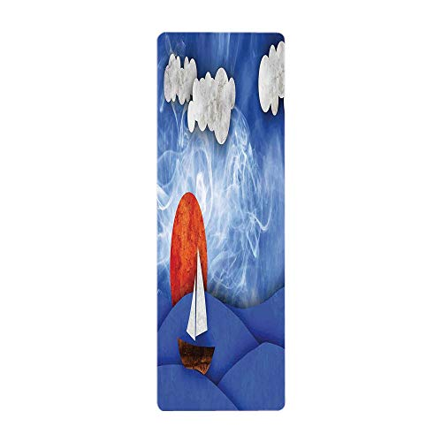 Yoga Towel, 100% Microfiber Yoga Mat Towel,Sailboat Nautical Decor,Sailing Ship with Sun and Clouds in Mist Water with Waves Funky Artwork,Blue Orange White,for Hot Yoga, Pilates and Fitness by iPrint
