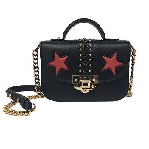 LA CARRIE BAG borsa donna nera con applicazioni oro/rosso art 172-P-335-UP/BL STAR BAG TRACOLLINA 100% ecopelle