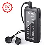 J-982 Mini Portable FM/AM Pocket Radio with Headphones, Personal Stereo Transistor Radio with Enhanced Bass, Operated by AAA Batteries for Walking,Jogging and Camping, by PRUNUS