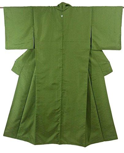 リサイクル 着物  色無地 一つ紋 正絹 袷 裄66.5cm 身丈156cm