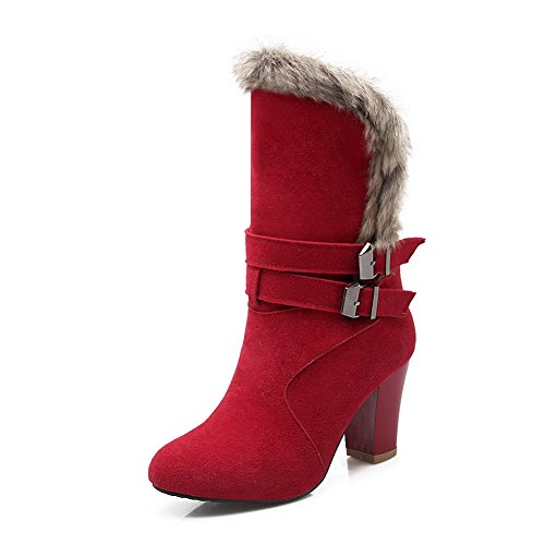 Frosted Buckle Heels Girls Boots Chunky Red Ornament Fur 1TO9 z7x66