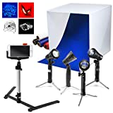 """LimoStudio 24 x 24"""" Cubic White Photo Box Tent, LED Table Top Light with Stand Legs, Mini Camera Stand, Cellphone Clip, Photo Video Studio, AGG1071"""