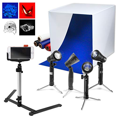 LimoStudio 24 x 24 Cubic White Photo Box Tent, LED Table Top Light with Stand Legs, Mini Camera Stand, Cellphone Clip, Photo Video Studio, AGG1071