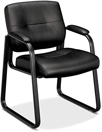 HON Client Sled Base Guest Chair – Leather Reception Chair, Black HVL693