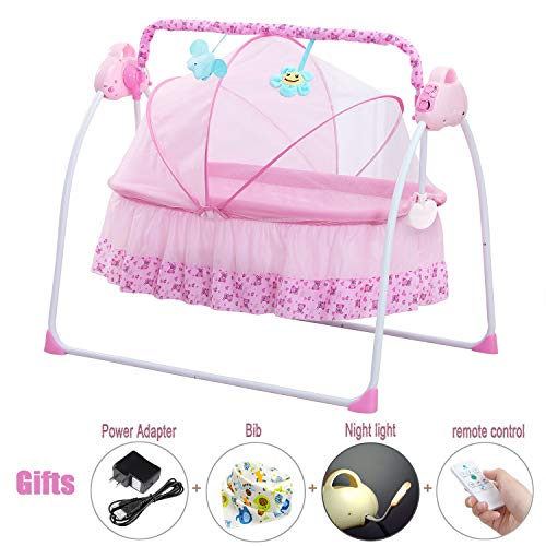 CBBAY Electric Cradle Baby Swing Bed Automatic Bassinet Basket Crib Newborn Rocking Multifunction Pink