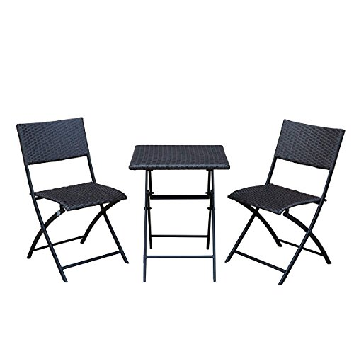 SunLife Bistro Sets, Outdoor Folding Table with Chairs Set, Foldable Patio Bistro Garden Party Bars Cafe Chairs Table Set, Teak For Sale