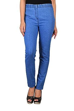 6eaa8193b6e24 BIGUP Plus Size Blue Denim Jeggings for Women (bigup-002-XXL_Blue_XXL)
