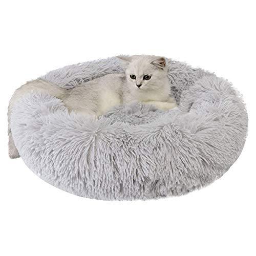 🥇 Cama para Perros Gatos Mediano Pequeño – Camas Cojin Redonda Antiestres Suave Lavables