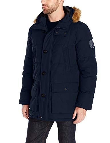 Down Mens Parkas - Tommy Hilfiger Men's Arctic Cloth Full Length Quilted Snorkel with Removable Faux Fur Trimmed Hood and Ultra Loft Isulation, Navy, XL