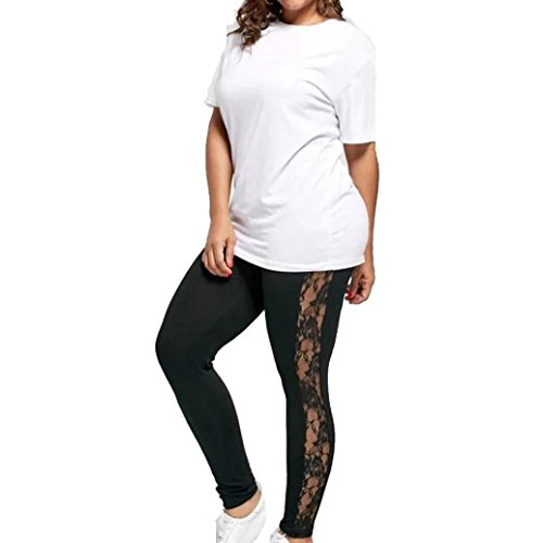 Plus Size Leggings, UBuyit Women Sexy Lace Floral Splicing Yoga Sport Elastic Pants Leggings (3XL, Black) (Sexy Lace Pants)