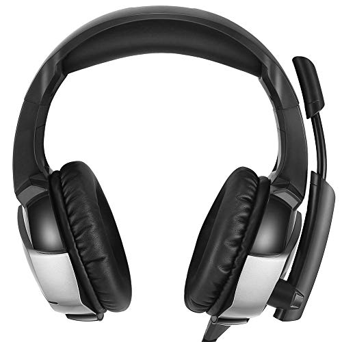 (ZKxl8ca K5 Gaming Headset Universal Rotating Mic Wired Over-Head Bass Gaming Headphones Black)