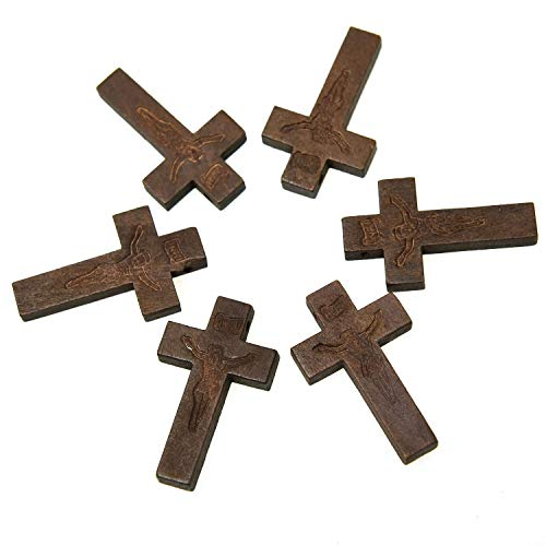 Monrocco 100 Pieces Wood Cross Pendants Cross Charms Church Carnival Fundraising Religious Jewelry for Crafts & DIY Jewelry Projects