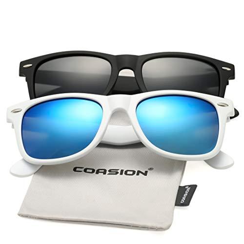 COASION Classic Polarized Sunglasses for Men Women Retro UV400 Brand Designer Sun Glasses (Matte Black Frame/Grey Lens + Bright Black Frame/Blue Mirror - Blue Black Sunglasses Mirror Frame