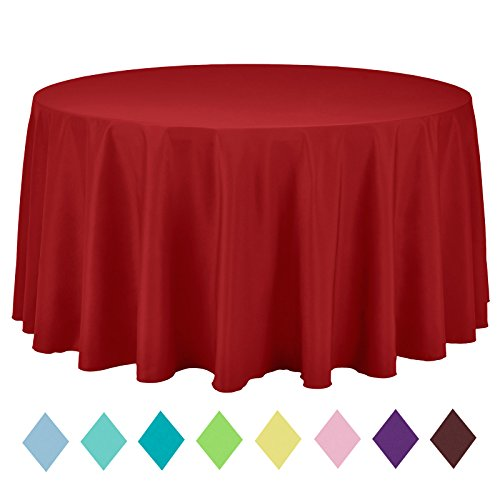 - VEEYOO 120 inch Round Solid Polyester Tablecloth Wedding Restaurant Party Home, Red