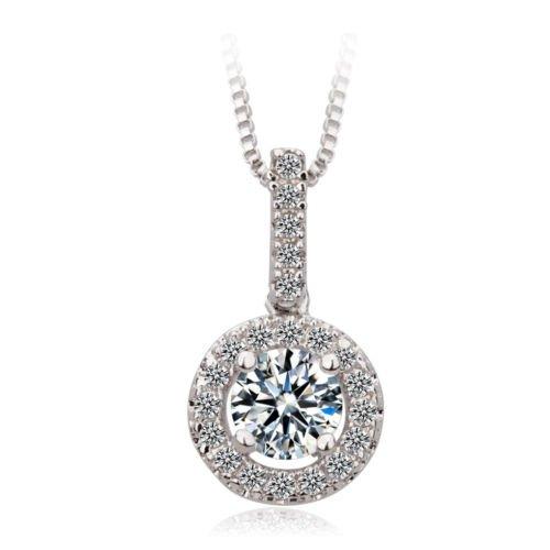 Cosines Jewelry - 10k White Gold Filled Round Cut White Sapphire Pendant Chain (Celtic Star Irish Dance Costumes)