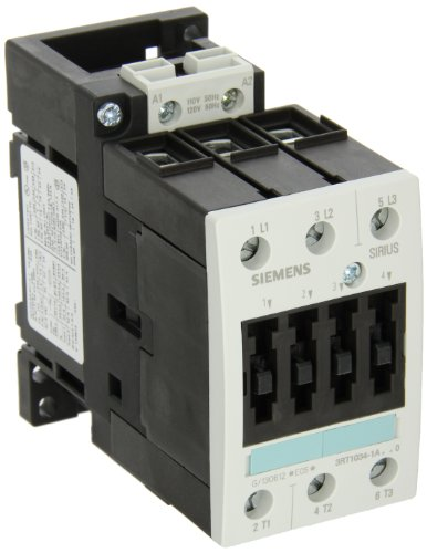 Siemens 3RT10 34-1AK60 Motor Contactor, 3 Poles, Screw Terminals, S2 Frame Size, 120V at 60Hz and 110V at 50Hz AC Coil Voltage Voltage