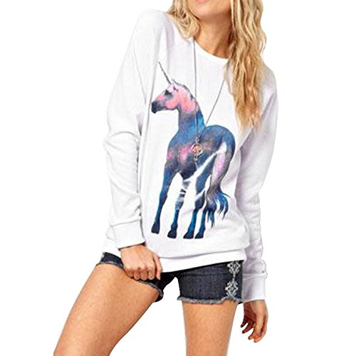 Price comparison product image Haotfire Casual Women Loose Long Sleeve Unicorn Print Hoodies Sweatshirt Hooded Pullover Tops Blouse (S, White)