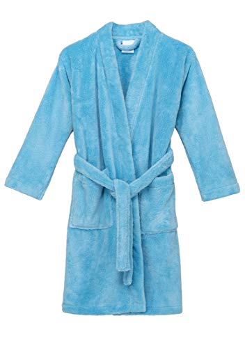 Fleece Robe Girls - TowelSelections Big Girls' Robe, Kids Plush Kimono Fleece Bathrobe Size 14 Baltic Sea