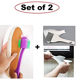 Lukzer Cleaning Set (2 Pcs) - 1 Pc Kitchen Broom with Dustpan + 1 Pc Cleaning Shoe Brush