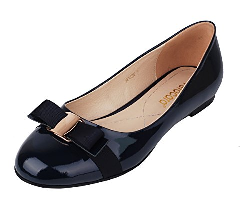 Heel with Bride Flat Verocara Bow Round Casual tie Pump Pat B navy Party Genuine Leather Toe for Balleria Women's wqX6x6r5E