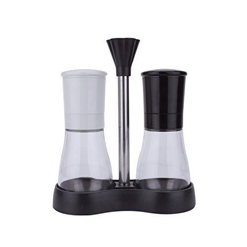 Evelyne GMT-10049 Salt And Pepper Grinder Set With Tray Adjustable Ceramic Coarseness Mill ()