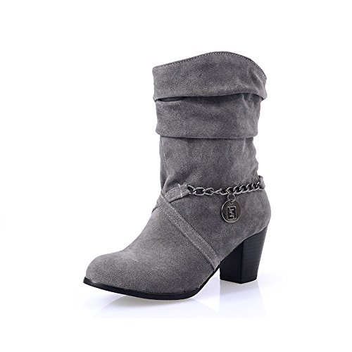 BalaMasa Ladies Metal Ornament Pull-On Kitten-Heels Xi Shi Velvet Boots Gray yDc4BxtZ