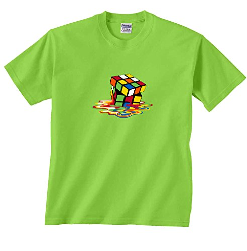 Price comparison product image Fair Game Melting Puzzle Cube Sheldon Big Bang Theory T-Shirt-Lime Green-Youth Large