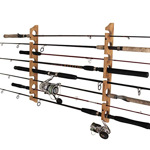Rush Creek Creations 2 in 1, 8 Fishing Rod/Pole Storage Wall/Ceiling Rack American Cherry Finish - Convenient Easy Assembly