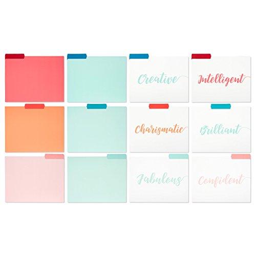 File Folders - 12-Pack Decorative File Folders, 6 Different Colorful File Folders, Solid Color Designer File Folders - Letter Size 1/3 Cut 1/2 Inch Top Memory Tab, 11.5 x 9 (Designer Colors File Folder)