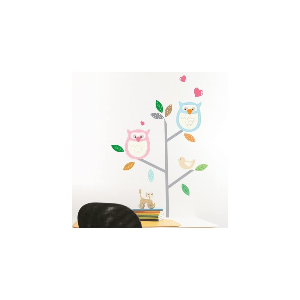 Owl Couple Tree Branch removable Vinyl Mural Art Wall Sticker Decal