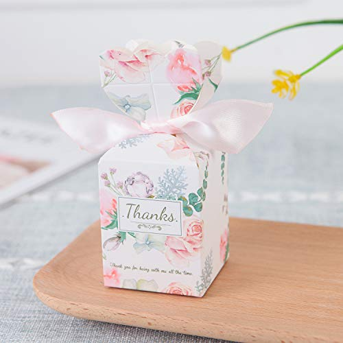zorpia Pack of 20 pcs DIY Wedding Favors Candy Boxes with Ribbon and Flower for Engagement, Bridal Shower Party, Princess Pink (Flower Island)