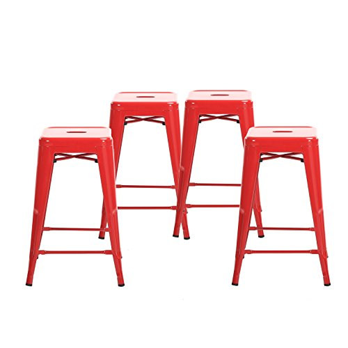 Buschman Set of Four Red 24 Inches Counter Height Tolix-Style Metal Bar Stools, Indoor/Outdoor, Stackable (And Stools Bar Set)