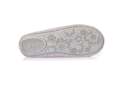 L-run Zapatillas Estilo Bailarina Para Mujer Zapatillas Antideslizantes Para Interiores Zapatos Lavables Cordones Grises