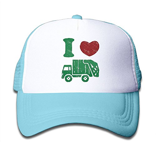 Waldeal Children's I Love Trash Garbage Trucks hat Garbage Man Costume Kids Hat Cap SkyBlue