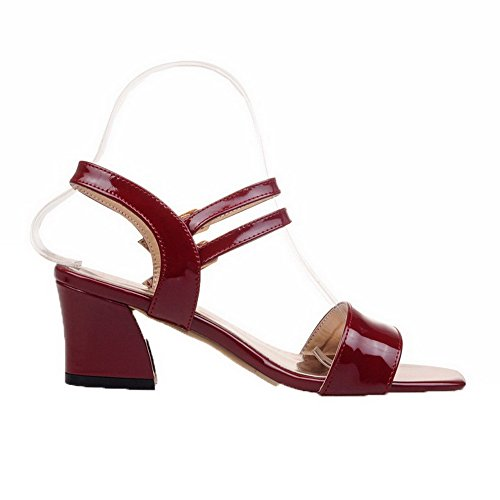 Rouge Couleur Correct Femme Sandales Unie Talon Verni Vineux Boucle à VogueZone009 CCAFLO013640 xvSqAXaA