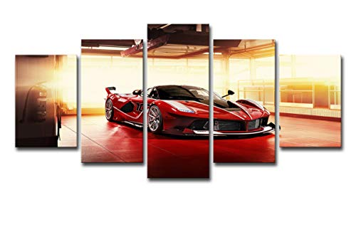 (SHOMPE Framed Canvas Wall Art Pictures Ready to Hang 5 Panels Red Sports Cars Painting HD Printed Poster Artwork for Bedroom Living Room Modern Home Decorations)