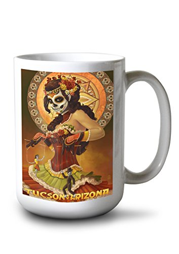 Tucson Mug Coffee - Lantern Press Tucson, Arizona - Day of The Dead Marionette (15oz White Ceramic Mug)