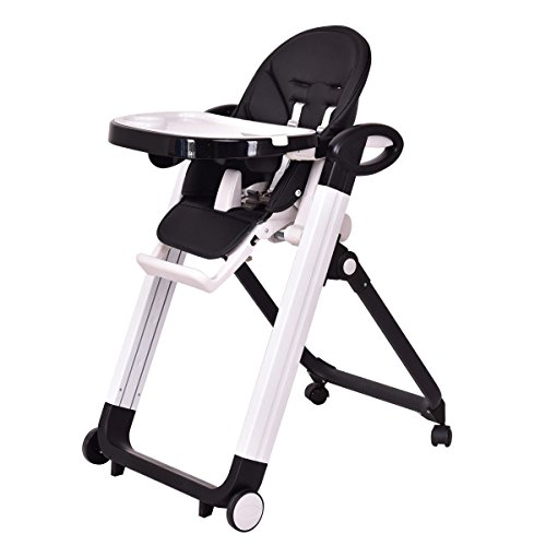 Costzon Baby High Chair, Folding Infant Feeding Booster with Adjustable Height & Recline Positions (Black)