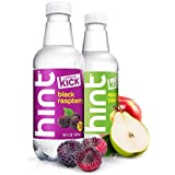 Hint Kick Water With Caffeine Variety Pack (Pack of 12) 16 Ounce Bottles 6 Bottles Each of: Black Raspberry and Apple Pear Caffeinated Water infused Zero Sugar Zero Calories Zero Sweeteners