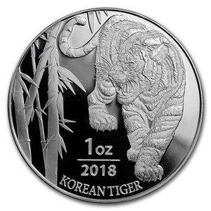 2018 KR Silver Tiger $1 Brilliant Uncirculated