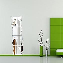 Start 4pcs/set 3D Wave Room Wall Mirror Sticker Art Decor Decal Stickers Home Murals Wallpaper