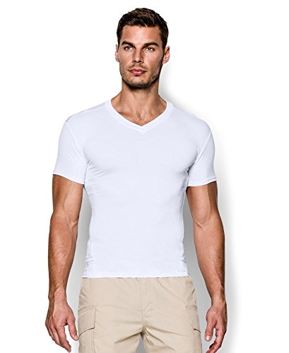 Under Armour Men's Tactical HeatGear Compression V-Neck, White/Clear,